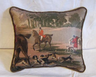 Handmade ENGLISH FOXHUNT Small Horse Pillow w/Twist Cord piping trim Quality Upholstery Fabric Brown Tones