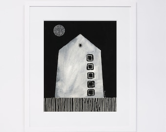 House Illustration Print, House #8 Black and White Contemporary Art Print of Original House Sketch from House Series