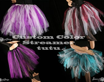 Custom Colors adult tutu skirt Streamer knee length costume fairy dance mardi gras halloween gothic --You Choose Size and Colors