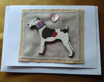 Fox Terrier with smart collar - greetings card