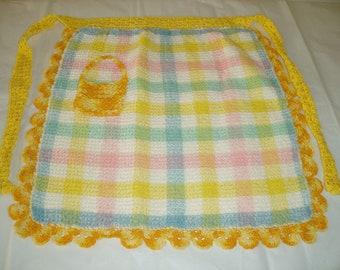 half apron , handmade apron , vintage linen , kids apron , dishcloth apron , kitchen linen , small apron , childrens apron , repurposed lin