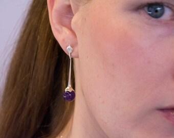 Amethyst in Sterling Silver drop earrings; floral earrings, amethyst bead dangle earrings