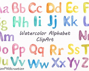 Watercolor Alphabet ClipArt, Watercolor letters, Rainbow Alphabet, Digital alphabet, PNG, watercolour, For Personal and Commercial Use