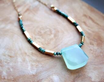 Green Necklace, Chalcedony Necklace, Gemstone Jewelry