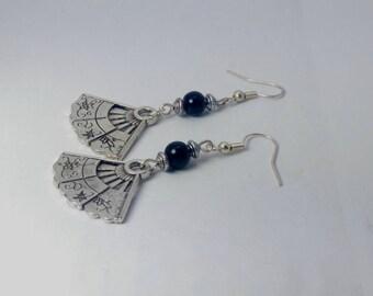 Silver fan, black glass bead earrings