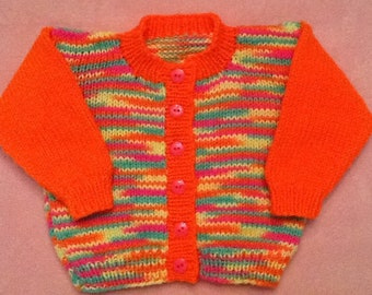 Neon Colors Baby Sweater and Cap