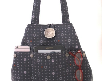 gray handbag, fabric tote bag, grey purse, shoulder bag, diaper bag, multi pocket bag , shoulder purse, hobo bag, polka dots
