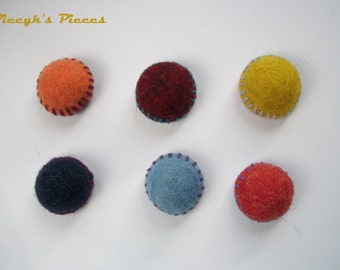 Eco-Friendly Colorful Felt Fridge Magnets set of 6 Felt Magnets - Navy Blue Red Light Blue Mustard Yellow Dark Red Orange OOAK - Child Safe