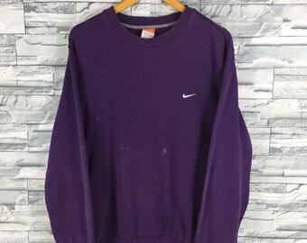 Vintage 1990s NIKE Swoosh Sweatshirt Women Large Sportswear Streetwear Nike Air Crewneck Sweater Nike Athletic Wear Purple Jumper Size L