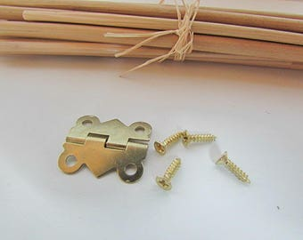 10 hinged box + screws 2 x 1.6 cm metal Gold-3-52 box decor
