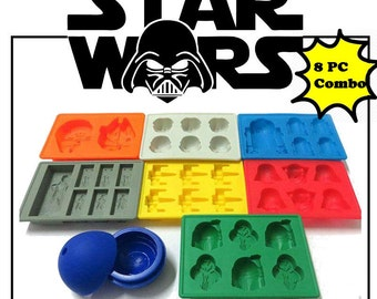 8PC Star Wars Molds Edible Star Wars Darth Vader R2D2  Baking Tray jello chocolate candy ice crayon soap tray Star Wars Party Silicone Mold