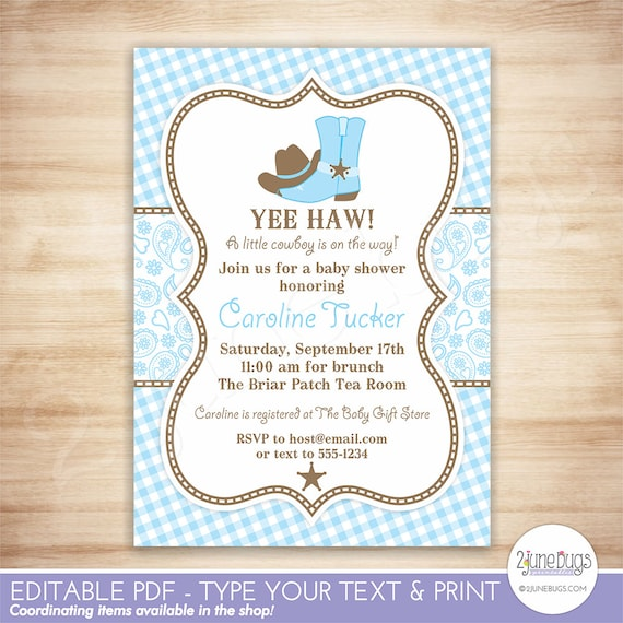 Cowboy baby shower invitation country western baby boy cowboy baby shower invitation country western baby boy shower light blue and brown paisley and gingham editable pdf instant download filmwisefo Images