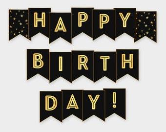 Black & Gold Printable Happy Birthday Banner - Birthday Party Decoration - Digital File, DIY Print - Instant Download - #GWR