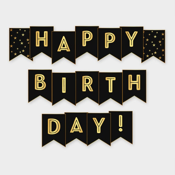 Black & Gold Printable Happy Birthday Banner Birthday Party