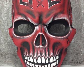 Hand Painted Demon Skull Mask Halloween