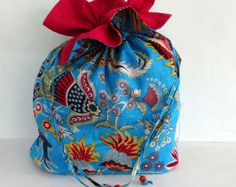 Tote bag blue paisley printed cotton with zip ties