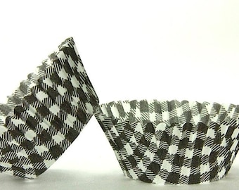 50pc Standard Size Black Gingham/Plaid Baking Cup With Greaseproof Liner