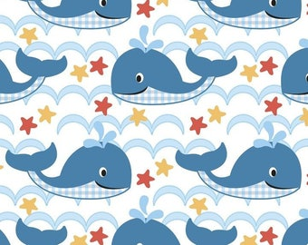 Sea Waves Baby Whales FLANNEL Nursery Fabric by the yard