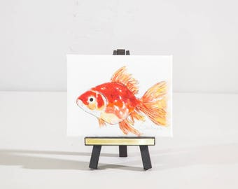 Mini art watercolor and easel, goldfish, fishy, whimsical art, nursery decor, child art,  tabletop decor, affordable gift under 25