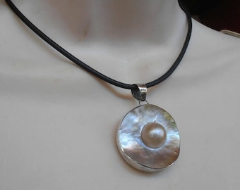 Sterling Blister Pearl Pendant Necklace, Black Leather Cord, Double Sided