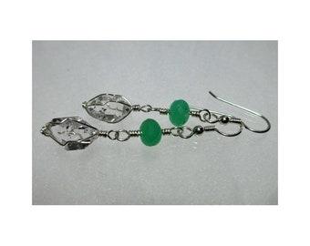 ww1352 - CHRYSOPRASE & HERKIMER DIAMOND Wirewrap Earrings - Argentium Sterling Silver