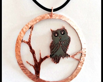 owl necklace, owl pendant, owl jewelry, owl totem, owl spirit guide, wise old owl, copper owl necklace, owl art, owl gift