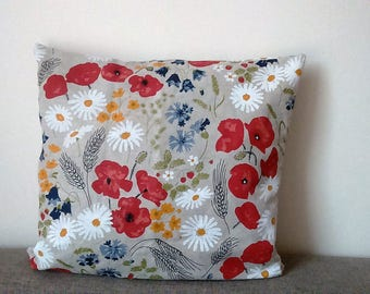 Pillow cover Linen natural red poppy Summer meadow flowers Herbs Botanical Decorative pillow for Throw pillows Floor Cushions Accent Pillows