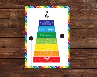 Music Birthday Party Invitation- Music Theme Invitation- Xylophone Birthday Party Invitation-Xylophone Invitation
