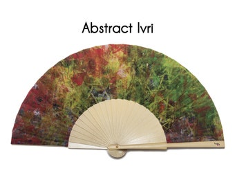 HAND FAN | abstract print with magen david symbols | unique gift | gift for mom | fashion accessories | Free Shipping Worldwide