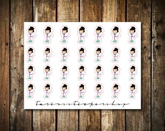 Workout - Cute Brunette Girl - Functional Character Stickers