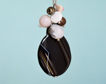 Black & beige cluster pendant, sold separately or with stainless steel chain, gemstones, glass beads, ceramic, exotic wood