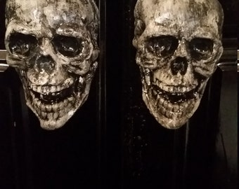 skull knobs. hand made of concrete,  painted and lacquered. skulls, custom,