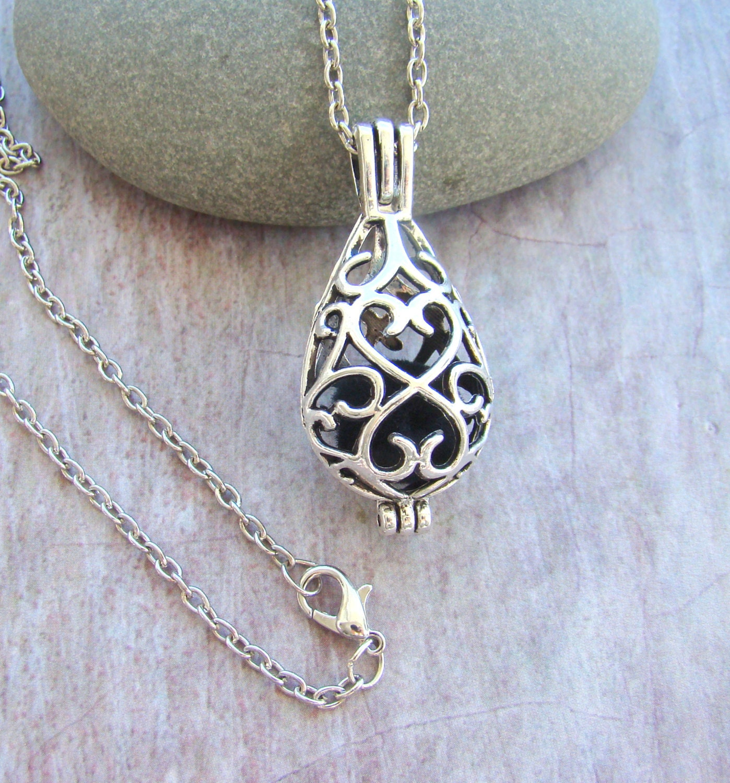 Filigree teardrop essential oil diffuser necklace zoom aloadofball Images