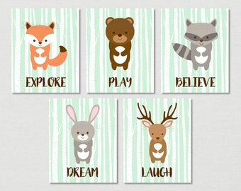 Cute Woodland Animal Nursery Wall Art / Woodland Animal Nursery Wall Art / Woodland Nursery / Mint Green / PRINTABLE Instant Download