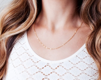 Chain Link Necklace, Gold Chain Necklace, Plain Necklace Chain, Thin Necklace, Layered Necklace, Simple Long Necklace, Silver, Rose Gold