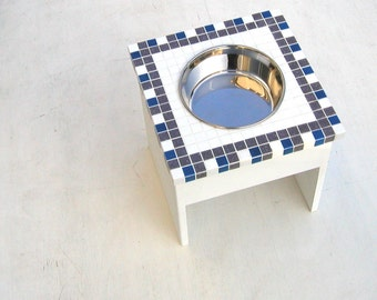 Large Single Bowl, Elevated Dog Feeder, Elevated Dog Bowl, Dog Water Bowl, Mosaic Diner