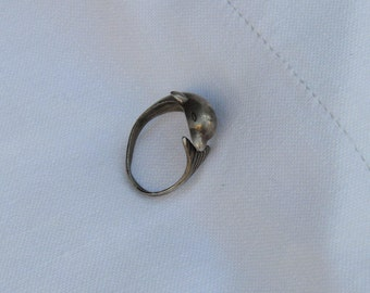sterling silver Dolphin ring - silver ring - ring for her - Dolphin ring - vintage ring - silver ring - inspiring ring - antique ring