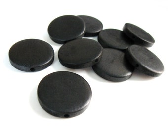 Large wooden beads flat round 25mm in black - 10 pces  #PB232B