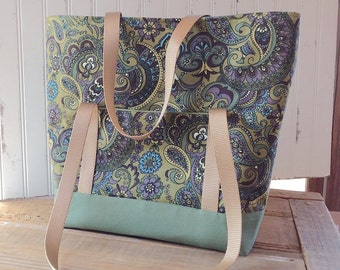 Purple and Green Paisley Large Sturdy Tote