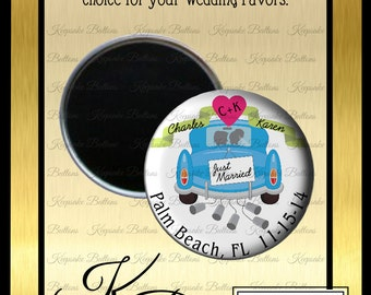 "Wedding Favor Magnets, 2.25"" Wedding Magnet, Just Married Car Wedding Favor, Custom Wedding Favors, Wedding Keepsake, Refrigerator Magnet,"