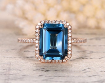 London Blue Topaz Ring,8x10mm Emerald Cut Topaz Engagement Ring,14K Rose Gold,London Blue Topaz Engagement Ring,Mother's Day Gift