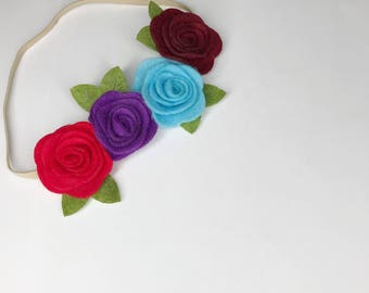 Felt flower crown, Felt flower headband, felt flower, felt headband, Baby headband, Flower headband, hair accesories for girls