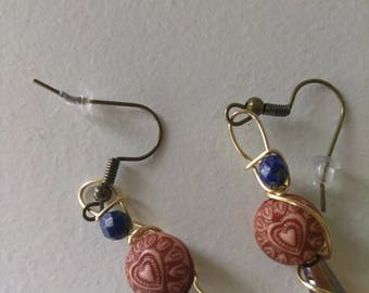 Amber and lapis lazuli earrings