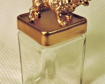 Big Bull Dog Figurine Jar, Canister, with Golden Bull Dog Statuette Lid, Art Figure Topped, Storage Jar Container