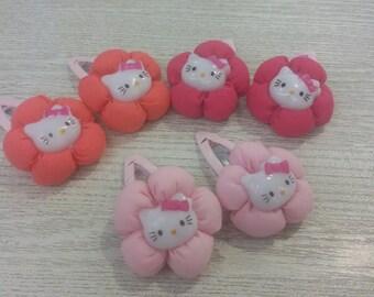 Colourful hello kitty angular hairclips