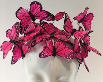 Butterfly Headpiece- Butterfly Fascinator- Derby Hat- Butterfly Headband- Butterfly Headdress- Pink Butterfly hat- Derby- Kentucky Derby-