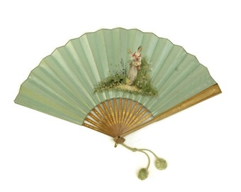 French Antique Hand Fan. Folding Hand Painted Blue Silk Fan. Burlesque Boudoir Decor. Fashion Accessory.