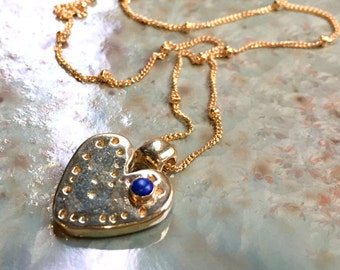 Heart pendant, heart necklace, hammered necklace, Valentines necklace, lapis stone necklace, goldfilled brass necklace - Love street N2046