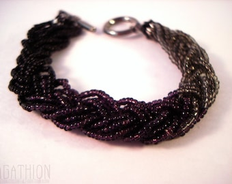 Beaded Braided Bracelet ombre black purple and gray seed bead bracelet with toggle clasp