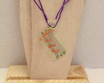 Musical Pendant Necklace/ Purple Satin Cord Necklace with Musical Notes/ Musical Jewelry/ Whimsical WIre Jewelry/ Statement Necklace